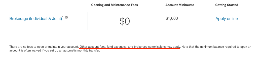 Schwab Brokerage Fees