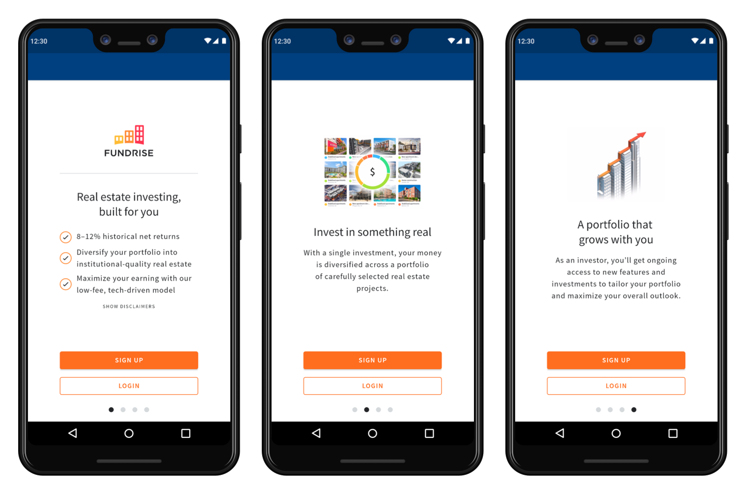 Fundrise Android Pre-Invest Experience